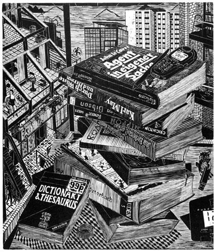 Gabriela Jolowicz . London Pile  2010  Holzschnitt auf Wenzhou-Chinapapier  Druckmaß 38 x 45 cm  Papiermaß ca. 40 x 60 cm  Auflage von 7
