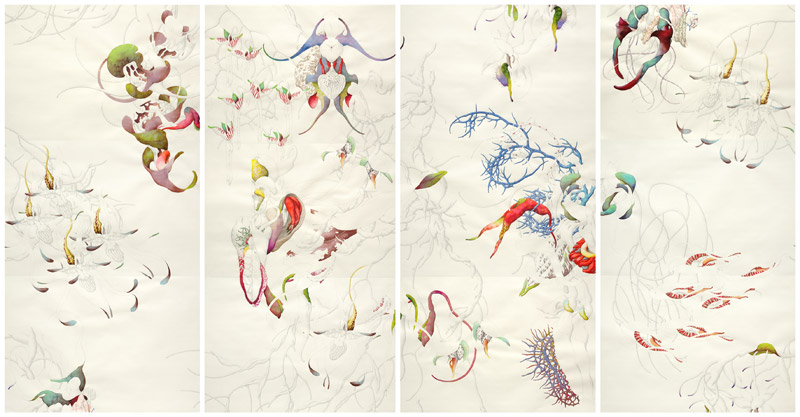 Miron Schmueckle . As you desire me, 2011, pencil, Indian ink, watercolor on hand-made paper, 12 parts, 96 x 66 cm each
