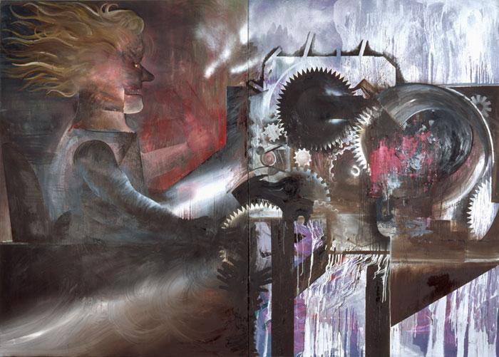 Sebastian Gögel . Maschine  2010  Öl auf Leinwand  270 x 380 cm