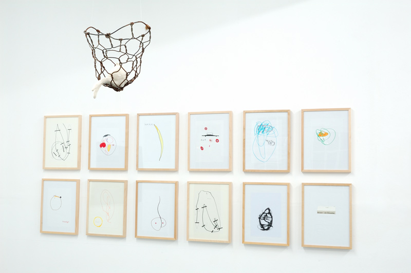 Alexandra Gaul . I'm fine, thank you  2009  ceramic and found object / Claudia Annette Maier . Untitled  drawings on paper  framed 42,3 x 32,3 cm