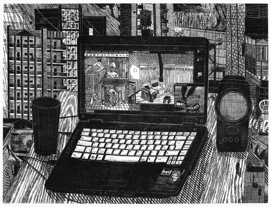 Gabriela Jolowicz . Laptop, 2010, woodcut on paper, 44,9 x 59,9 cm, edition of 12